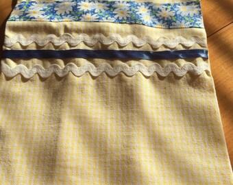 Yellow Check Appliqued Tea Towel (1)