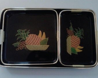 Vintage Lacquer Ware- Three Piece Tray Set, Fruit