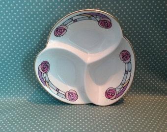 Vintage Aynsley Rennie Mackintosh 3 section dish with original label. - FREE UK POST.