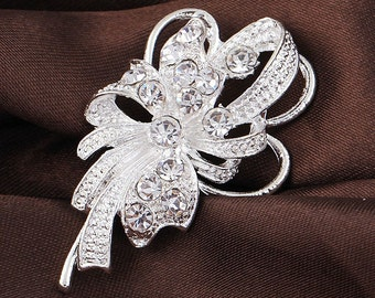 Lustrous Elegant Fashion Wedding Bouquet Rhinestone Silver Plated Brooches