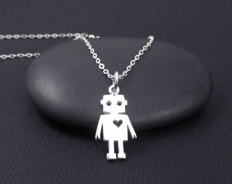 Robot Necklace Sterling Silver Tiny Robot with Heart Necklace Robot Love Necklace, Sci Fi Space Science Jewelry