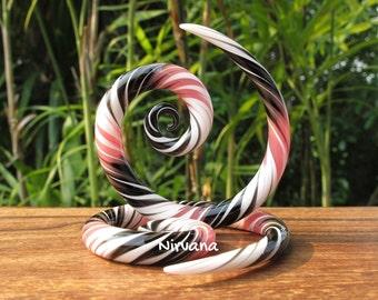 """Black, Pink & White Free Style Super Spirals Glass 6g 4g 2g 0g 00g 7/16"""" 1/2"""" 9/16"""" 5/8"""" 4 mm 5 mm 6 mm 8 mm 10 mm - 16 mm"""