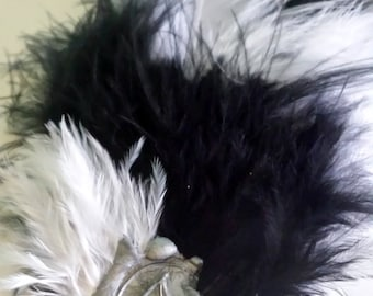 Handmade Black and White Feather Hair Clip