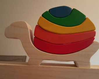Stacking turtle, stacking toy, wooden turtle, wooden stacking toy