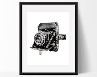Watercolor Vintage Camera Art Print - Wall Art  - Photography Decor