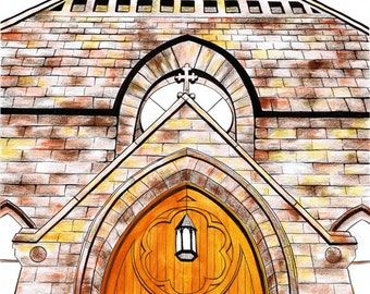 Through These Doors Illustration Church Fine Art Print