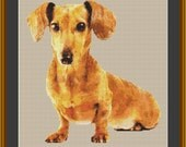Dachshund Dog Counted Cross Stitch Pattern (10.64 x 11.29 inches or 27.03 x 28.67 cm) download printable PDF file (4092)
