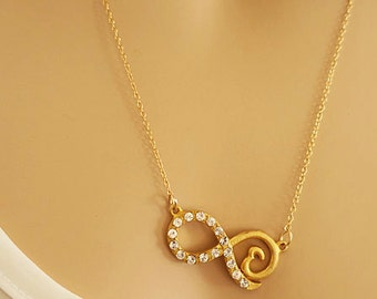 Gold Infinity Necklace Heart Infinity Necklace Rhinestone Eternity Unique Friendship Gifts Bridesmaid Necklace Set of 2 Gold Love Necklace