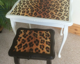 Glitzy Glam Fabulous Footballers Wives Black & White Leopard print side tables