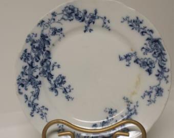 Gorgeous, Antique Flow Blue Plate; W H C  Rindley; Idea Trademark