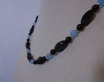 Onyx and Aquamarine Necklace, Black and Blue Stone Necklace