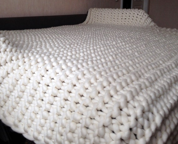 Knitting Wool Blanket : Chunky knit blanket king size