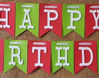 Happy Birthday Banner, Happy 1st Birthday Banner, 2nd Birthday Banner, Red and Green Banner