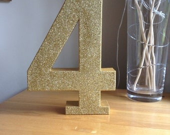 "12"" Gold Glitter Number 4,  Large Freestanding Number 4, 4th Birthday Party Decor, Gold Number One"