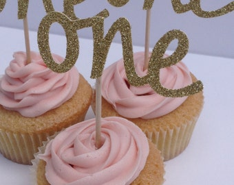 12 x Gold Glitter One Cupcake Toppers, 1st Birthday Cake Toppers, Wedding Anniversary Cake Toppers