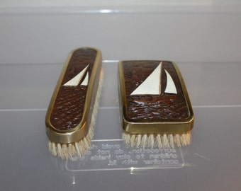 Matching Set of Vintage  Clothing Brushes, Wood w Sail Boat on Them, & Gold Metal Trim, Both Are Clean Bristles, Used in Early 1900's, NICE