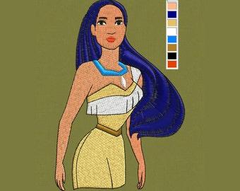 embroidery Pocahontas design disney 4x4 pes hus jef