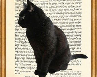 DICTIONARY ART PRINT Enchanting Black Cat Print on Vintage Dictionary Page 10'' x 8'' from Antique Book