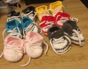 6-12mo Crochet Baby Bootie Sneakers