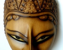 """Antique Brown Panji Mask 9"""" Tall with Beaded Crown Excellent Quality Home Wall Decor"""