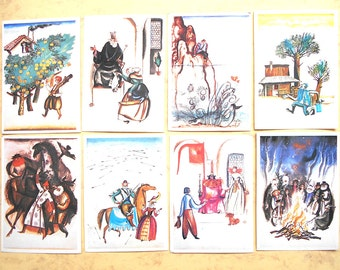 Lemkul F. illustrations to the book of fairy tales. Set of 15 Vintage Postcards - Printed in the USSR, 1986