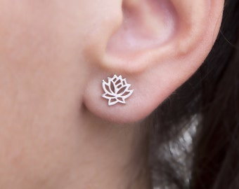 Lotus Earrings, Yoga Earrings, Silver Yoga, Silver Studs, 9k Lotus Earrings, Solid Gold Lotus Earrings, Lotus2