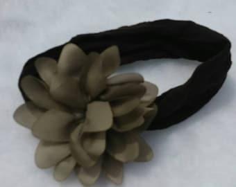 Grey flower headband black nylon headband