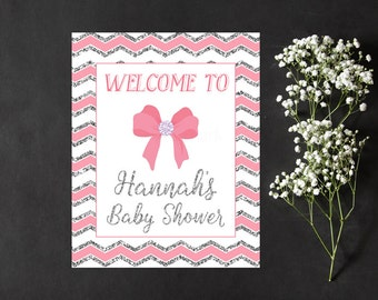 Pink and Silver Baby Shower Welcome Sign, Pink Bow Baby Shower Welcome Sign Printable, Baby Sprinkle Welcome Sign Digital Print PDF
