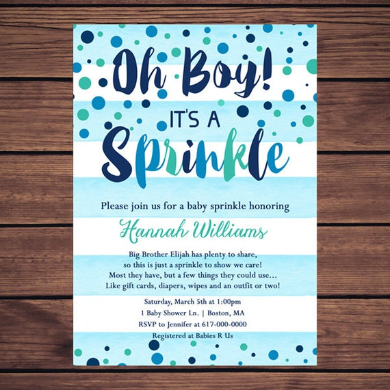 Baby Sprinkle Invitation Boy Blue Watercolor Stripes Blue