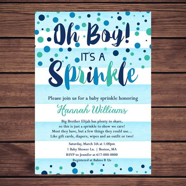 Baby Sprinkle Invitation Boy Blue Watercolor Stripes Blue