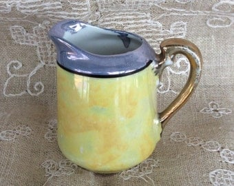 Vintage Lusterware Yellow and Blue Creamer