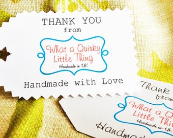 Thank you paper tags, Gift Tags, Pack of 50, Personalized Tags, Handmade with love tags, Logo tags, Sellers tags, handmade items tags