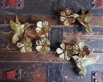 Vintage 1970's Homco Home Interiors Set of 3 Metal Gold Tone Flower & Hummingbirds Wall Hangings Home Decor