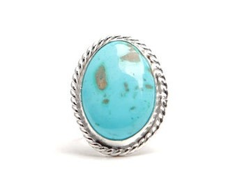 Turquoise Ring, Natural Royston Turquoise Ring, Classic Turquoise Ring, Sterling Silver Ring -- US Size 6