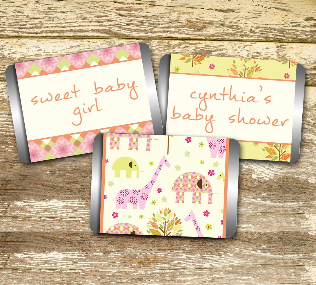 mini candy bar wrapper baby shower girl pink and yellow