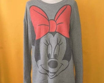 Disney Minnie Mouse Sweater Vintage 90s Gray Cotton Chracter Print Pattern Jacket Sweatshirt Pullover Apparel Tops