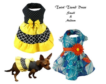 Dog Dress Pattern, Dog Clothes Sewing Pattern pdf Tutorial -Twirl Tiered Dress- Small & Medium
