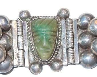 Vintage Mexican Silver Native Indian Head Carved Jade Bracelet