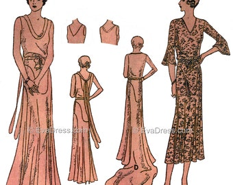 1931 Evening Frock with Train and Street Dress Pattern