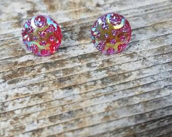 12mm Fuchsia Geo AB earrings