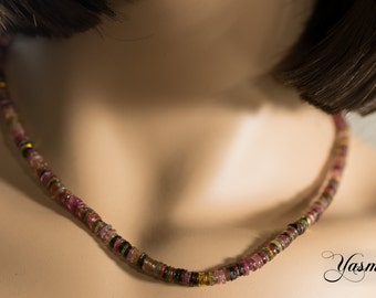 Multicolor tourmaline plates with gold-plated elements