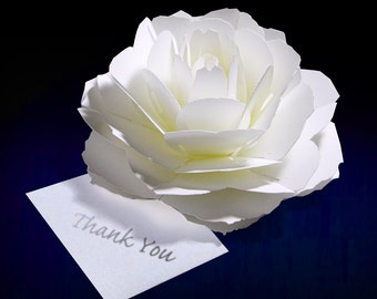 pop-up flower thank you card-rose-