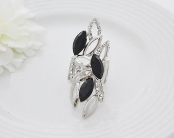 On Sale NEW Woman's black color silver long rhinestone gold plated ring size 7