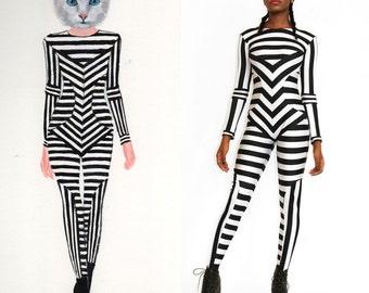 Black and White Striped Print Catsuit Spandex Jumpsuit Unitard Bodysuit Graphic Pattern Stripes
