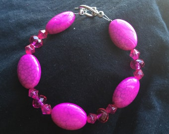 Hand Beaded Pink Bracelet with Toggle Clasp