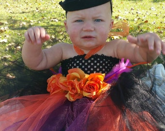 Baby witch tutu costume pretty witch child costume halloween costume for a baby girl witch costume tutu dress witch costume
