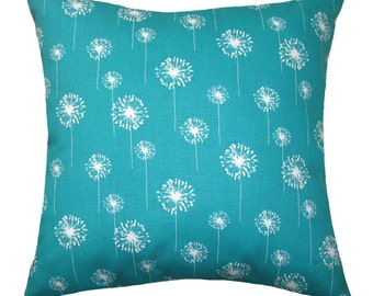 Floral Pillow - Premier Prints Turquoise Small Dandelion Pillow Cover - Zippered Pillow -  Dandelion Cushion Cover - 16 sizes to choose from