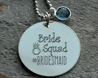 Brides Squad Hashtag Wedding Personalized Engraved Necklace
