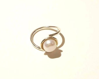 Sterling silver white Pearl ring