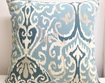 Zipper Pillow cover Winchester Ikat Spa  ivory aqua grey teal Pillow Cover Decorative Throw Pillow 12x16,16x16, 18x18, 20x20, 24x24 26x26